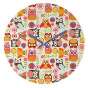 DENY Designs Valentina Ramos Cute Little Owls Round Clock, 30cm Round