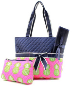 J & C Family Owned Pineapple Quilted Navy Nappy Bag