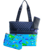 J & C Family Owned Dinosaur Quilted Navy Nappy Bag