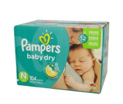 Pampers Size N Super Pack 104 Count Newborn 3 layers Flexes comfortable fit absorbency Baby Dry Nappies