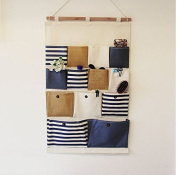 Storage Bags Linen Cotton Fabric 13 Pockets Wall Door Hanging Organiser Baby Closet Storage Bag Hanging Storage Organisers Storage Baskets Hanging Pockets for Toy Comestic Makeup Jewellery Storage