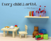 Every Child Is An Artist Wall Decal 120cm W by 19cm H, Wall decal, Children Wall Decal, Kids Artwork Decal, Kids Artwork Display, Artwork Display, Playroom, HN91 PLUS FREE 30cm WHITE HELLO DOOR DECAL