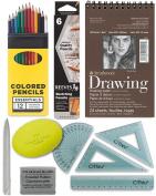 Artists Drawing Pack Bundle - Sketch Pad, Pencils Set, Kneaded Eraser, Coloured Pencils, Tortillon, Grip Eraser To Go Art Supplies Kit