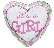 It's a Girl Heart Shaped Foil Balloons 46cm Mylar, set of 2