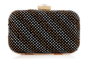 Womens Sparkly Mini Crystal Stud Evening Clutch Hardbox Bag for Party Clasp