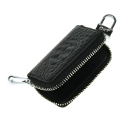 Fashion Zippered Leather Car Key Case Unisex Car Key Holder Bag Wallet