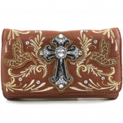 Justin West Embroidery Hummingbird Autumn Floral Design Rhinestone Cross Wristlet Trifold Wallet Attachable Long Strap