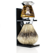 Maison Lambert 100% Silvertip Badger Bristle Faux Horn Handle Shaving Brush - Brush Stand Included - .  - Perfect gift for wet shavers for christmas, birthday or fathers day!