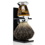 Maison Lambert 100% Black Badger Bristle Faux Horn Handle Shaving Brush - Brush Stand Included - .  - Perfect gift for wet shavers for christmas, birthday or fathers day!
