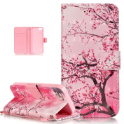 iPhone SE Case,iPhone 5S Case,iPhone 5 Case,ikasus Shiny Glitter Diamond Colourful Painted PU Leather Flip Wallet Pouch Stand Credit Card ID Holders Case for iPhone SE 5S 5,Pink Plum Blossom Flower