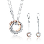 SILVERAGE Rose Gold Plated Sterling Silver Two-Tone Circle Necklace & Earrings Jewellery Set