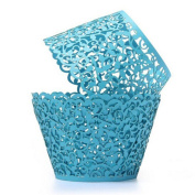 Tinksky 50pcs Laser Cut Cupcake Wrappers Bake Cake Paper Cups Baking Cup Muffin Case Trays for Wedding Party Birthday Decoration Baby Shower Wrap