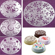 Affe 4PCS/set Fondant Cake Stencil Carved Printing Patterns Mould Happy Birthday Cake Mould Spray Cake