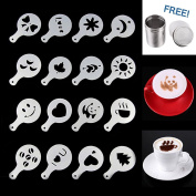 LOHOME® Coffee Latte Garland Mould - 16 PCS Cappuccino Plastic Template + FREE Stainless Steel Powder Shaker - Fancy Coffee Stencils Model
