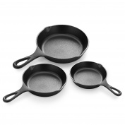 Simple Chef® Cast Iron Skillet 3-Piece Set - Best Heavy-Duty Professional Restaurant Chef Quality Pre-Seasoned Pan Cookware Set - 25cm , 20cm , 15cm Pans - Great For Frying, Saute, Cooking, Pizza & More