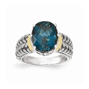 Roy Rose Jewellery Sterling Silver with 14K Yellow Gold London Blue Topaz Ring
