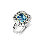 Roy Rose Jewellery Sterling Silver with 14K Yellow Gold Antiqued Blue Topaz Ring
