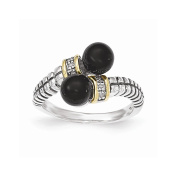 Roy Rose Jewellery Sterling Silver with 14k Black Onyx and Diamond Ring
