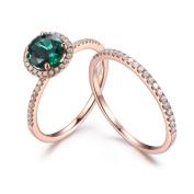 Lab-created Emerald Ring Set Eternity Diamond Wedding Band for Women 14K Rose Gold Engagement Ring