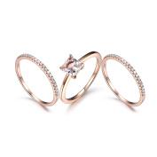 Morganite Ring Set 6.5mm Princess Cut Morganite Engagement Ring Rose Gold Diamond Wedding Band Thin