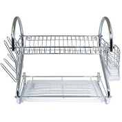 Better Chef 41cm Chrome Dish Rack with Utensil Holder, Cup Rack and Tray