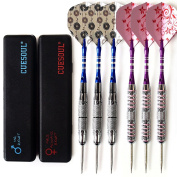 CUESOUL 6 Pcs Couples Package Steel Tip Darts,2 Sets Pure Quality Brass Barrel,Aluminium Shafts and Fashional Pattern Flights