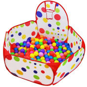 Dreampark Kids Ball Pit Playpen Ball Tent with Basketball Hoop and Zippered Storage Bag for Toddlers, 1.2m/120cm(Balls not Included)