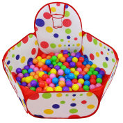 Dreampark Kids Ball Pit Playpen Ball Tent Pool with Basketball Hoop and Zippered Storage Bag for Toddlers, 1m/100cm(Balls not Included)