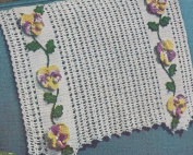 Vintage Crochet Pattern to make - Pansy Grape Applique Chair Set. NOT a finished item. This is a pattern and/or instructions to make the item only.
