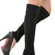 EUBUY Fashion New Women Ladys Winter Knit Crochet Knee High Leg Warmers Boot Socks