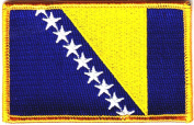 BOSNIA FLAG w/Gold Border/Iron On Patch Applique/Flag of Bosnia, Symbol