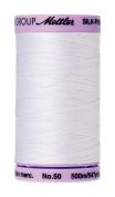 Mettler Silk-Finish Solid Cotton Thread, 547 yd/500m, White