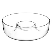 Chip and Dip Bowl Clear can be used for Nachos Popcorn Party Glass 28cm