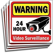 Video Security Surveillance Sticker Decals Sign for Home/Business (4 Piece Set) Self Adhesive Vinyl Stickers for CCTV, DVR, Video Camera System-Outdoor/Indoor 15cm x 15cm for Window Door Wall …