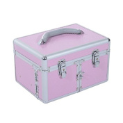 Soozier 3 Tier Lockable Cosmetic Makeup Train Case with Extendable Trays - Pink
