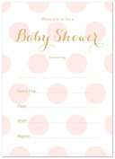 24 Polka Dots Gold Fill-in Baby Shower Invitations