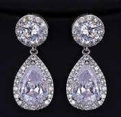 Sunshinesmile Mothers Day Gifts Pave Cz Teardrop Dangle Earrings Rhodium Plated