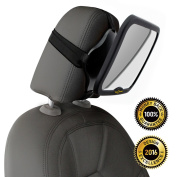 ROYAL RASCALS Baby Car Mirror   #1 SAFEST rear view mirror for rearward facing child seat   BLACK   Fits any adjustable headrest   Tilt and turn function   100% shatterproof   PREMIUM SAFETY PRODUCT