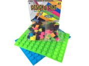 2 Pack Green and Blue Kids Fun Silicone Placemat with 60 Assorted Coloured Tabs per Mat - Also Great Just for Arts Crafts and Design Fun