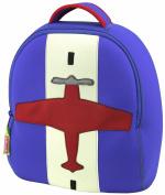 Dabbawalla Bags Preschool & Toddler Aeroplane Backpack, Blue/Red