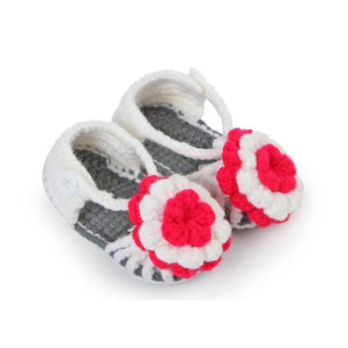 Fullkang Toddler Newborn Baby Flower Knitting Lace Crochet Buckle Sandal Shoes (Grey)