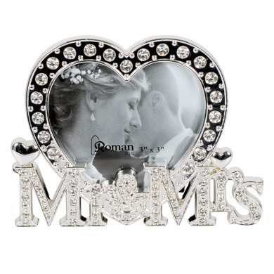 Roman Inc. 8.9cm H Mr and Mrs Heart Shaped Wedding 3 x 3 Picture Frame