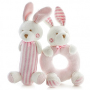 SHILOH® Baby Rattle Plush Toy 18cm *8.1cm Pink Rabbits