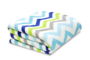 Little Starter Plush Toddler Blanket, Blue Chevron