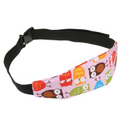 Baby Kids Car Seat Neck Relief Head Support Band with Adjustable Belt - Pink Owl