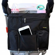 Emmzoe Universal Fit Stroller Organiser All-in-One Insulated Multifunctional Storage Compartments for Drinks, Food, Tablets, Books, Nappies, Wipes