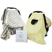 Sho Cute - The Cute Cocoon [Reversible] - Baby Car Seat Covers, Windproof, Peekaboo Window, Universal Fit, Grey & Yellow, Infant Carseat Canopy | Baby Gift Boy or Girl - Patent Pending