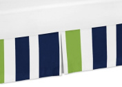 Sweet Jojo Designs Navy Blue and Lime Green Crib Bed Skirt Dust Ruffle for Stripe Collection Bedding Sets