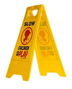 """Slow Children at Play Yard and Driveway Safety Sign (Double-Sided, Yellow) - """"Slow, Children at Play"""""""