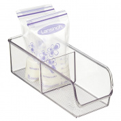 mDesign Baby Food Organiser Bin for Breastmilk Storage Bags/Formula - 10cm x 28cm x 8.9cm , Clear